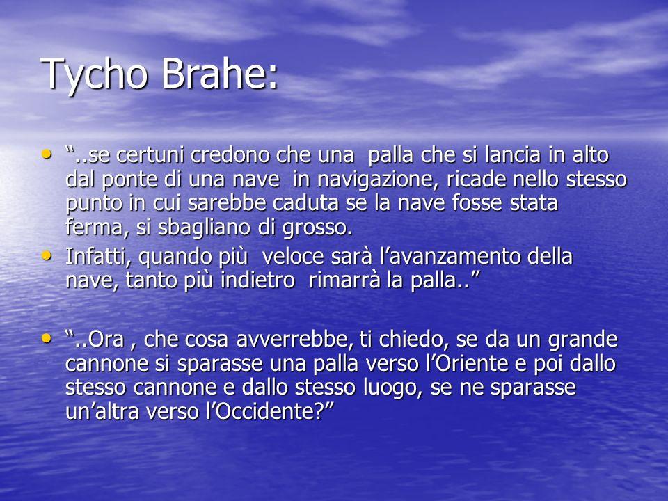 Tycho Brahe:..se certuni credono che una palla che si lancia in alto dal ponte di una nave in navigazione, ricade nello stesso punto in cui sarebbe ca