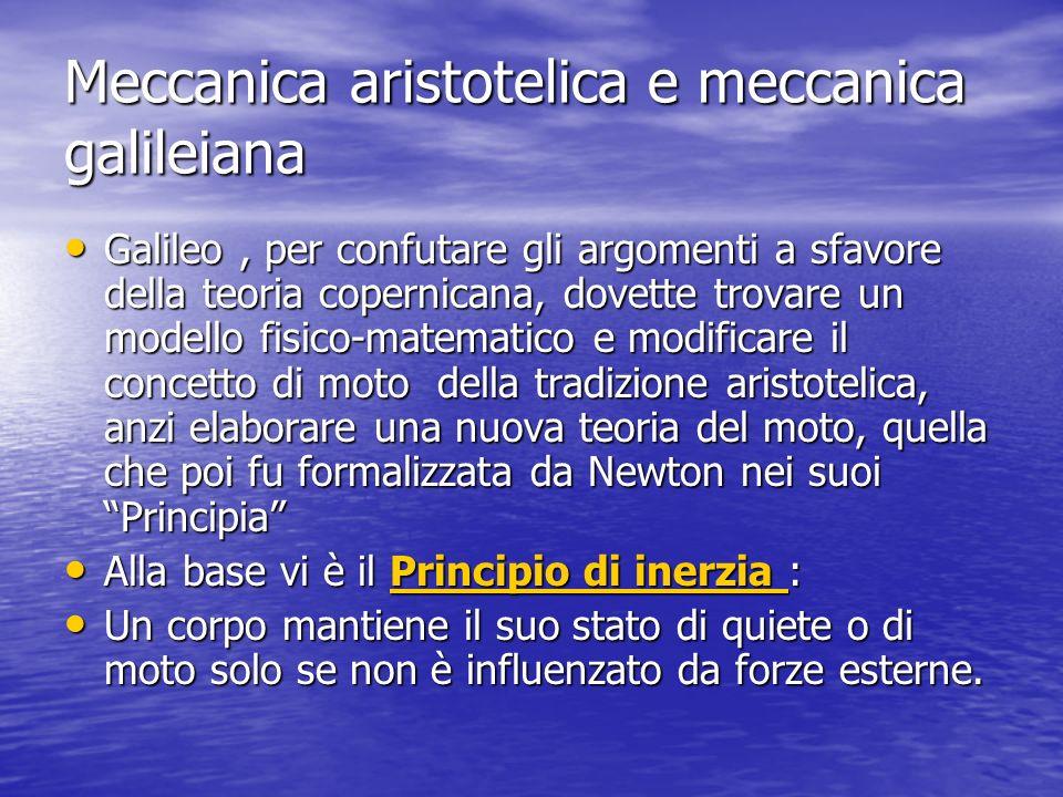 Meccanica aristotelica e meccanica galileiana Galileo, per confutare gli argomenti a sfavore della teoria copernicana, dovette trovare un modello fisi