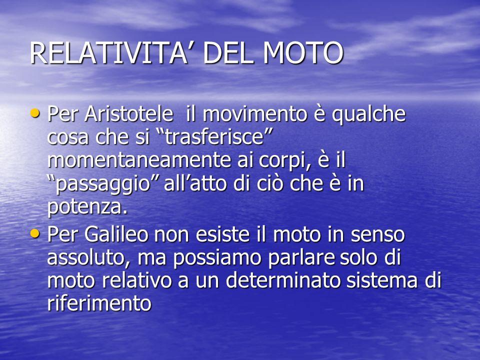 RELATIVITA DEL MOTO Per Aristotele il movimento è qualche cosa che si trasferisce momentaneamente ai corpi, è il passaggio allatto di ciò che è in pot