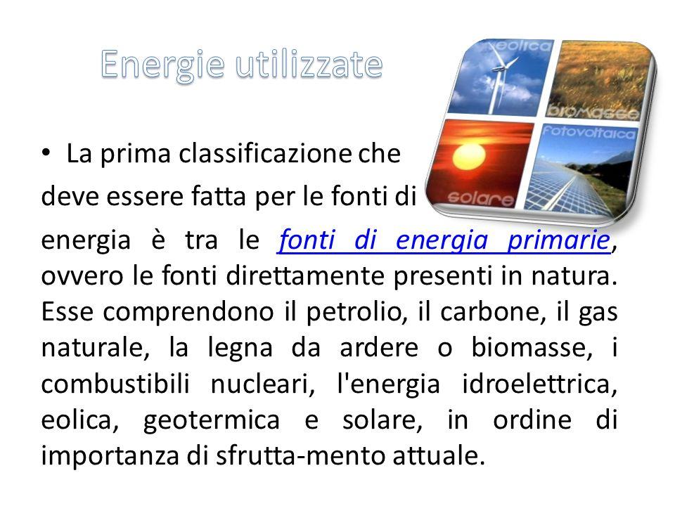 La prima classificazione che deve essere fatta per le fonti di energia è tra le fonti di energia primarie, ovvero le fonti direttamente presenti in na