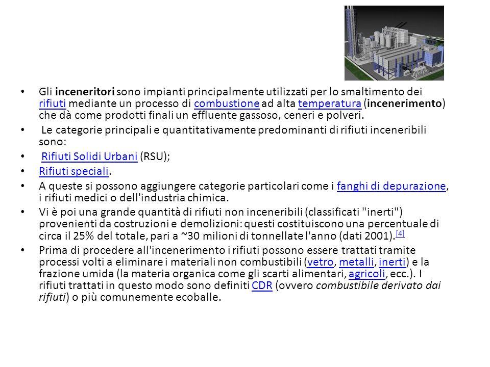 Gli inceneritori sono impianti principalmente utilizzati per lo smaltimento dei rifiuti mediante un processo di combustione ad alta temperatura (incen