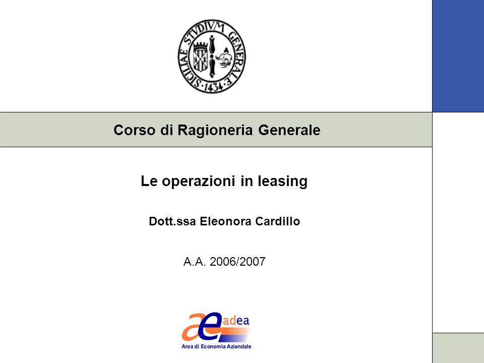 Corso di Ragioneria Generale Le operazioni in leasing Dott.ssa Eleonora Cardillo A.A. 2006/2007