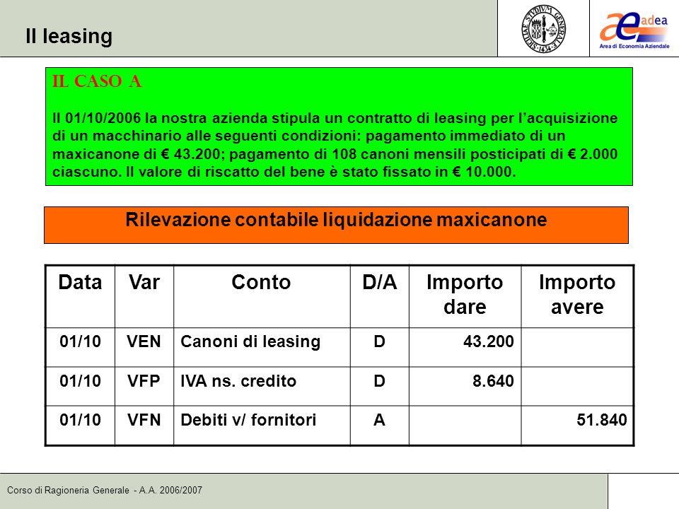 Corso di Ragioneria Generale - A.A. 2006/2007 DataVarContoD/AImporto dare Importo avere 01/10VENCanoni di leasingD43.200 01/10VFPIVA ns. creditoD8.640
