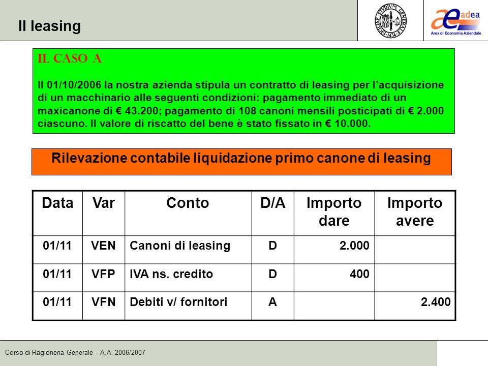 Corso di Ragioneria Generale - A.A. 2006/2007 DataVarContoD/AImporto dare Importo avere 01/11VENCanoni di leasingD2.000 01/11VFPIVA ns. creditoD400 01
