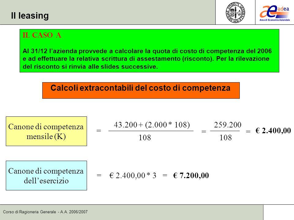 Corso di Ragioneria Generale - A.A. 2006/2007 Il leasing Il caso A Al 31/12 lazienda provvede a calcolare la quota di costo di competenza del 2006 e a