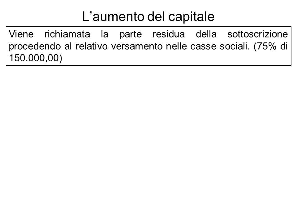 Viene richiamata la parte residua della sottoscrizione procedendo al relativo versamento nelle casse sociali. (75% di 150.000,00) Laumento del capital