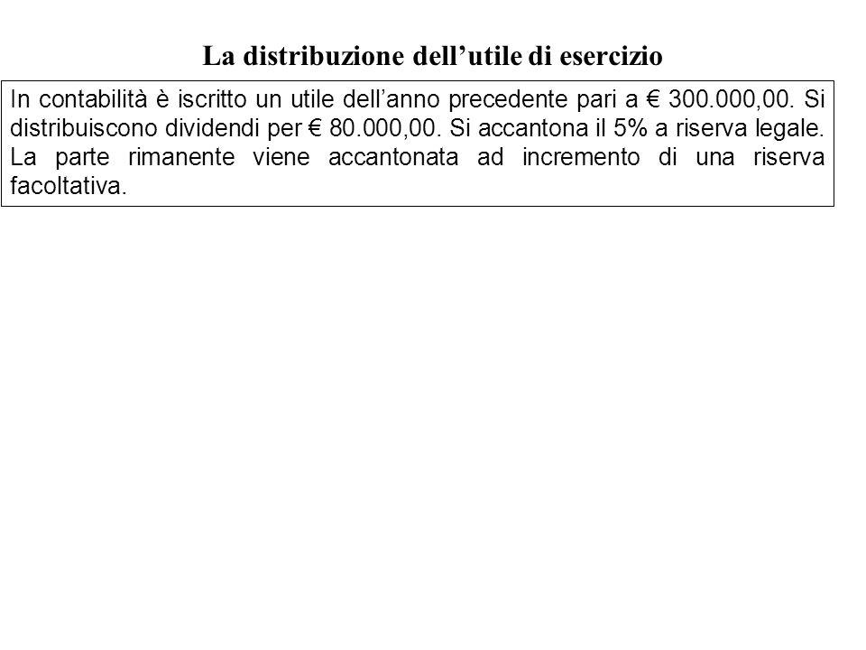 In contabilità è iscritto un utile dellanno precedente pari a 300.000,00. Si distribuiscono dividendi per 80.000,00. Si accantona il 5% a riserva lega