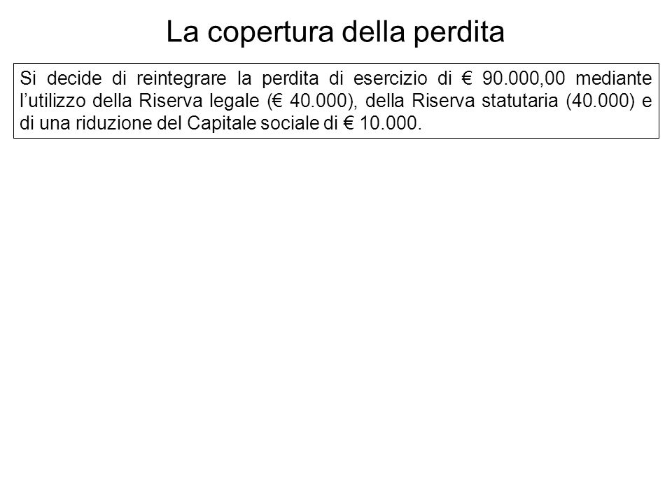 Si decide di reintegrare la perdita di esercizio di 90.000,00 mediante lutilizzo della Riserva legale ( 40.000), della Riserva statutaria (40.000) e di una riduzione del Capitale sociale di 10.000.