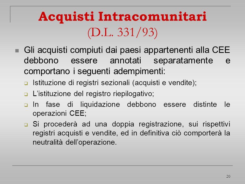 20 Acquisti Intracomunitari (D.L. 331/93) Gli acquisti compiuti dai paesi appartenenti alla CEE debbono essere annotati separatamente e comportano i s