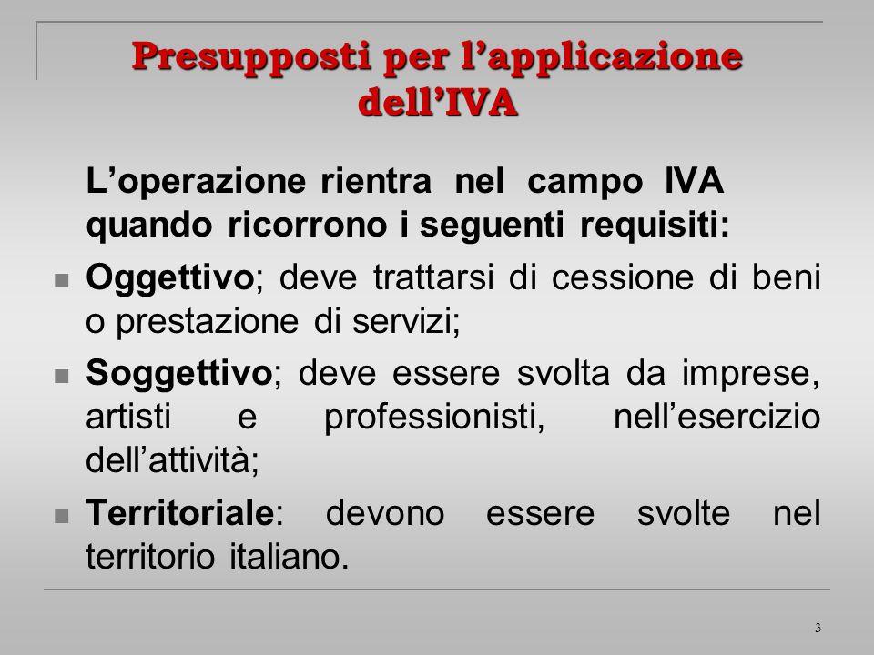 3 Presupposti per lapplicazione dellIVA Loperazione rientra nel campo IVA quando ricorrono i seguenti requisiti: Oggettivo; deve trattarsi di cessione