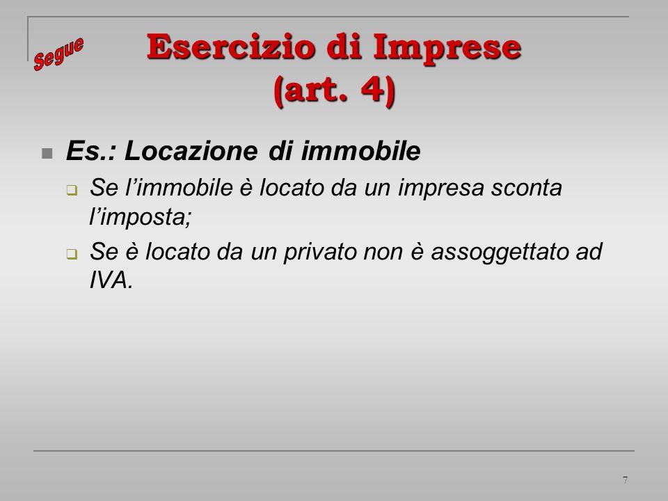 7 Esercizio di Imprese (art. 4) Es.: Locazione di immobile Se limmobile è locato da un impresa sconta limposta; Se è locato da un privato non è assogg