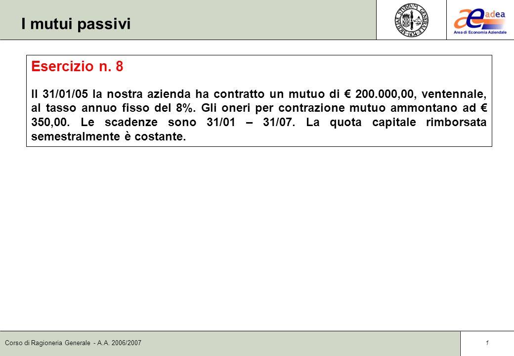 Corso di Ragioneria Generale - A.A.2006/2007 1 I mutui passivi Esercizio n.