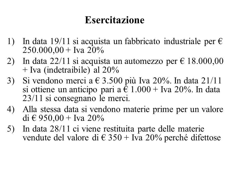 1)In data 19/11 si acquista un fabbricato industriale per 250.000,00 + Iva 20% 2)In data 22/11 si acquista un automezzo per 18.000,00 + Iva (indetraib