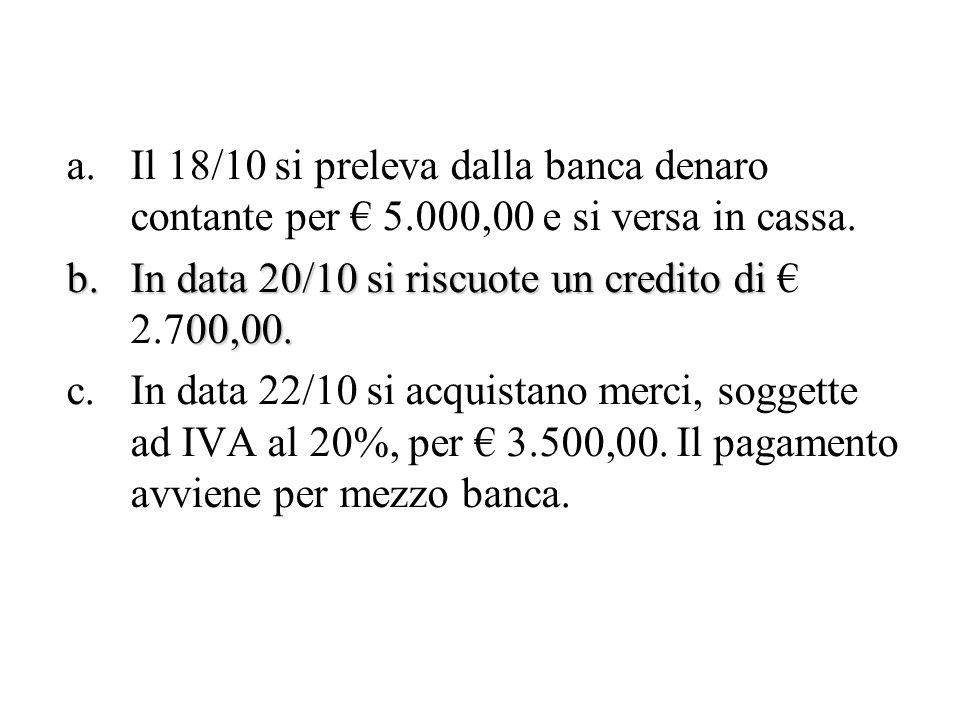 a.Il 18/10 si preleva dalla banca denaro contante per 5.000,00 e si versa in cassa. b.In data 20/10 si riscuote un credito di 00,00. b.In data 20/10 s