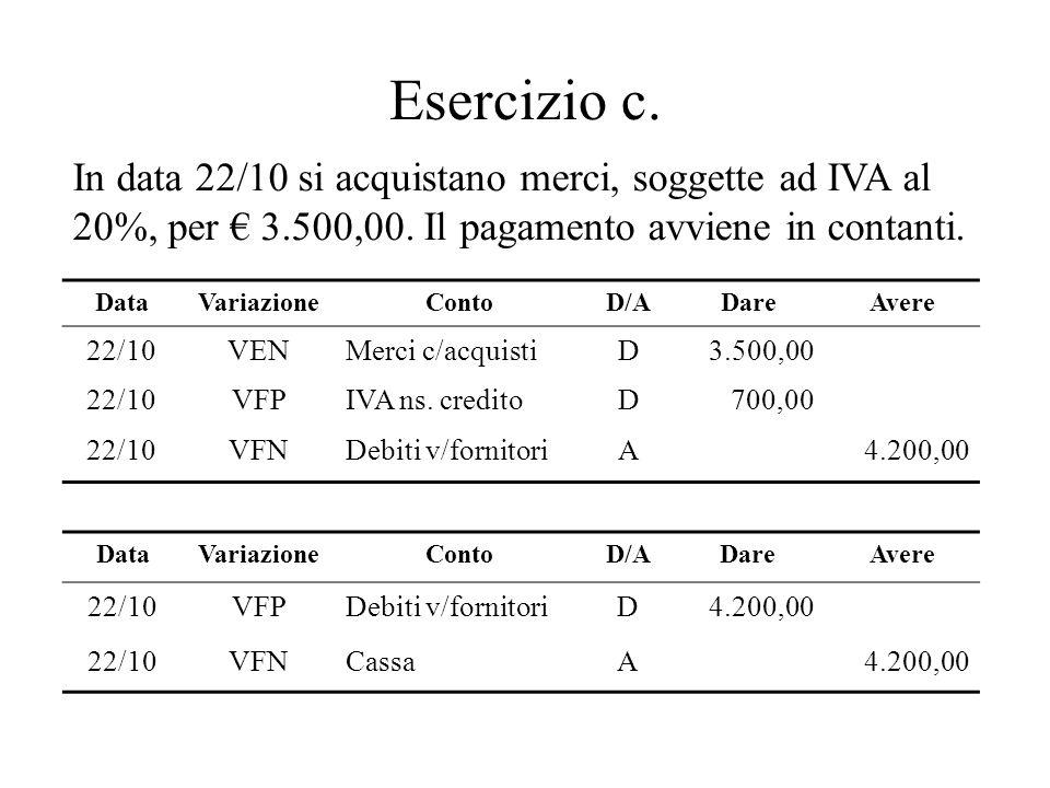 Esercizio c. DataVariazioneContoD/ADareAvere 22/10VENMerci c/acquistiD3.500,00 22/10VFPIVA ns. creditoD700,00 22/10VFNDebiti v/fornitoriA4.200,00 In d