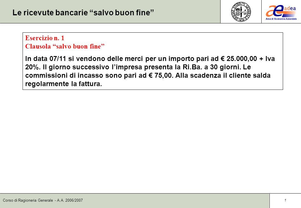 Corso di Ragioneria Generale - A.A.2006/2007 1 Le ricevute bancarie salvo buon fine Esercizio n.