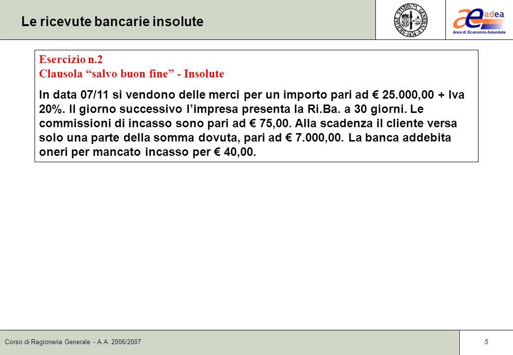 Corso di Ragioneria Generale - A.A. 2006/2007 4 Le ricevute bancarie salvo buon fine Rilevazione contabile dellincasso alla scadenza DataContoD/AImpor