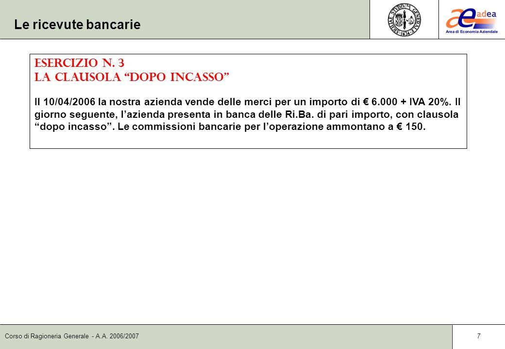 Corso di Ragioneria Generale - A.A. 2006/2007 6 Le ricevute bancarie insolute DataContoD/AImporto dare Importo avere 07/12Banche c/ricevute SBFD30.000