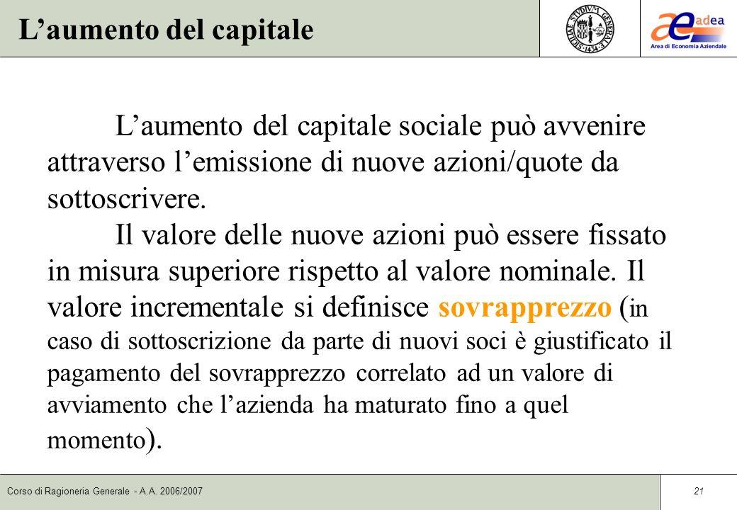 Corso di Ragioneria Generale - A.A. 2006/2007 20 Le riserve di capitale Le riserve costituiscono parti ideali del capitale netto e possono essere clas