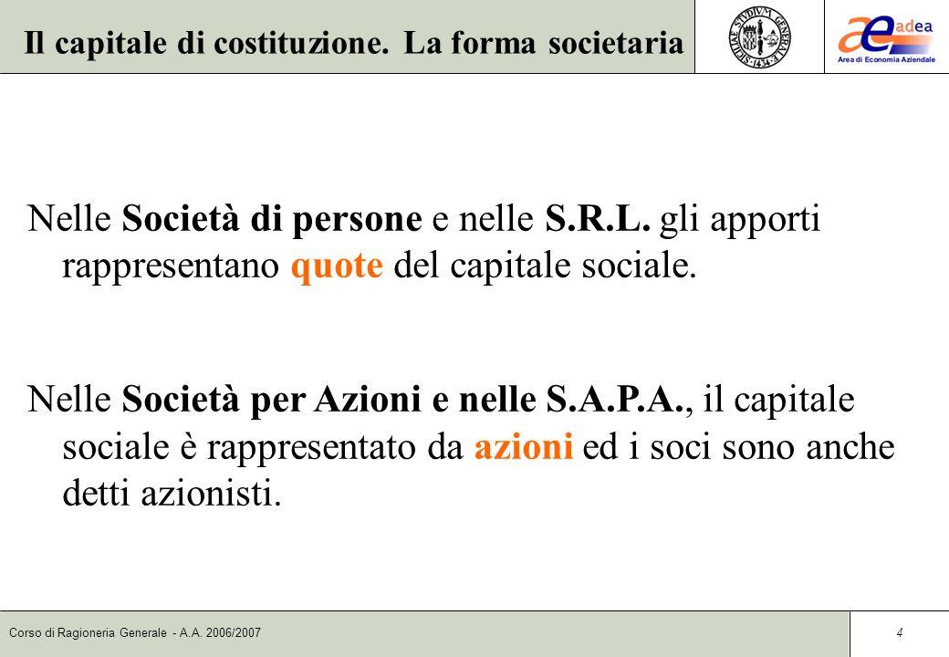 Corso di Ragioneria Generale - A.A.2006/2007 4 Nelle Società di persone e nelle S.R.L.
