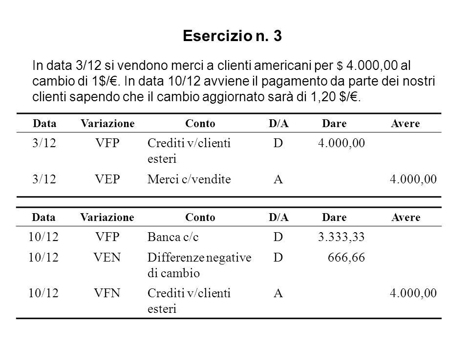 Esercizio n. 3 In data 3/12 si vendono merci a clienti americani per $ 4.000,00 al cambio di 1$/. In data 10/12 avviene il pagamento da parte dei nost