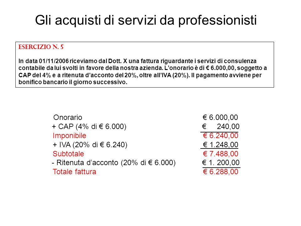Onorario 6.000,00 + CAP (4% di 6.000) 240,00 Imponibile 6.240,00 + IVA (20% di 6.240) 1.248,00 Subtotale 7.488,00 - Ritenuta dacconto (20% di 6.000) 1
