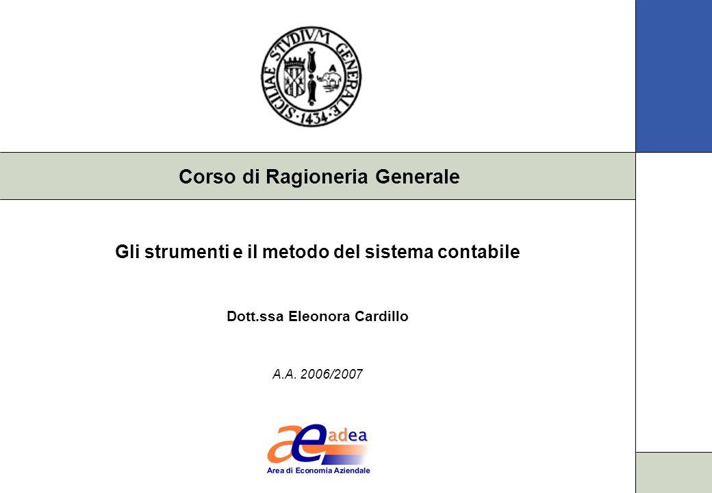Corso di Ragioneria Generale Gli strumenti e il metodo del sistema contabile Dott.ssa Eleonora Cardillo A.A.
