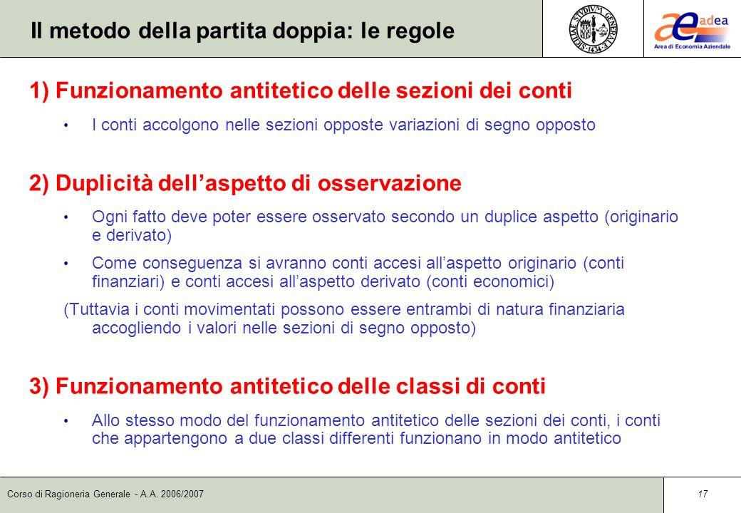 Corso di Ragioneria Generale - A.A. 2006/2007 16 La partita doppia: unesemplificazione Costo (CE) 100 D A Debito (CF) D A 100 Cassa (CF) D A 100 Opera