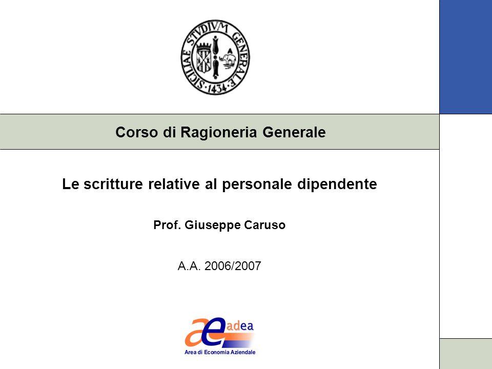 Corso di Ragioneria Generale Le scritture relative al personale dipendente Prof. Giuseppe Caruso A.A. 2006/2007