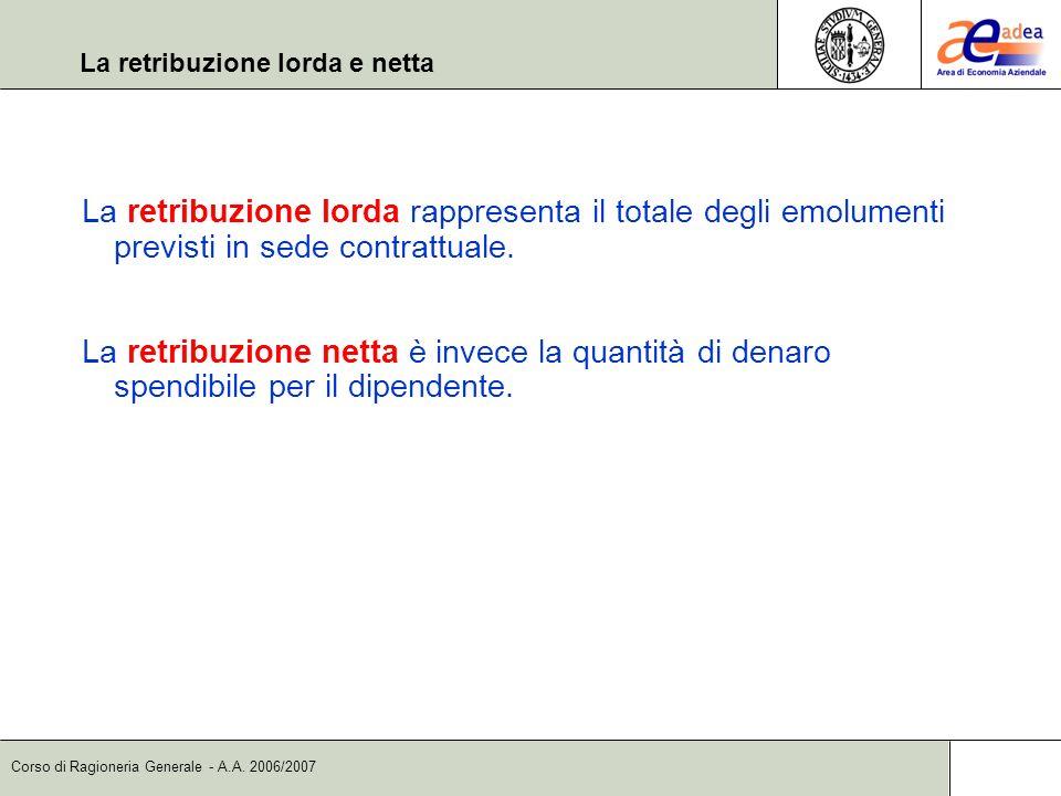 Corso di Ragioneria Generale - A.A. 2006/2007 La retribuzione lorda e netta La retribuzione lorda rappresenta il totale degli emolumenti previsti in s