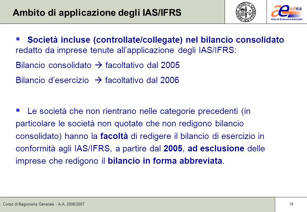 Corso di Ragioneria Generale - A.A. 2006/2007 17 Società quotate, Società aventi strumenti finanziari diffusi, Banche, Enti finanziari vigilati e Assi