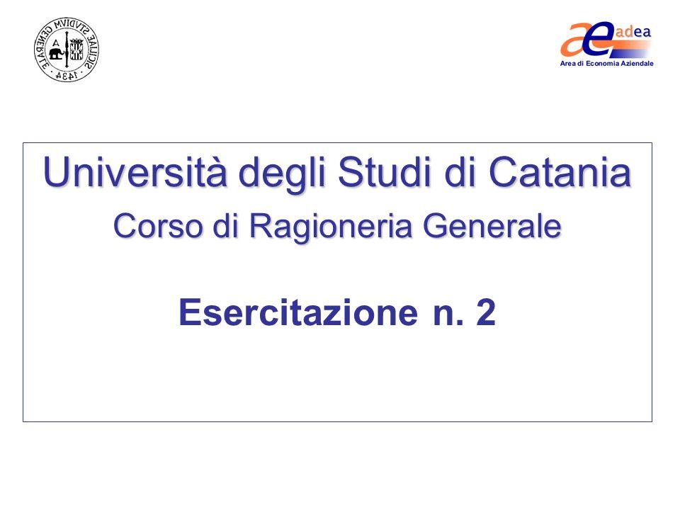 Università degli Studi di Catania Corso di Ragioneria Generale Esercitazione n. 2