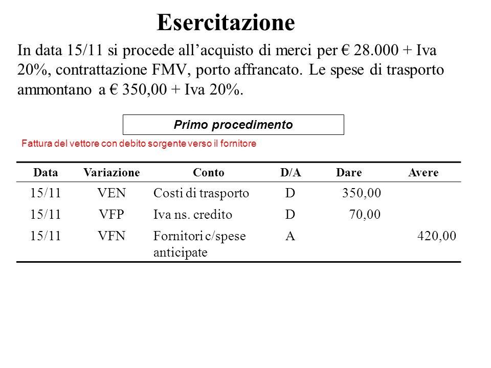In data 15/11 si procede allacquisto di merci per 28.000 + Iva 20%, contrattazione FMV, porto affrancato. Le spese di trasporto ammontano a 350,00 + I