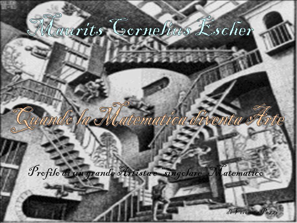 Maurits Cornelius Escher, nasce a Leeuwarden, Olanda il 17 giugno 1898 muore a Laren, Olanda, il 27 marzo 1972 è da molti riconosciuto come un geniale artista, famoso per le sue litografie, le sue silografie, le sue mezzetinte e le sue incisioni su legno che rappresentano costruzioni impossibili, esplorazioni dell infinito, tassellature e motivi a geometrie interconnesse che cambiano gradualmente in forme completamente differenti.