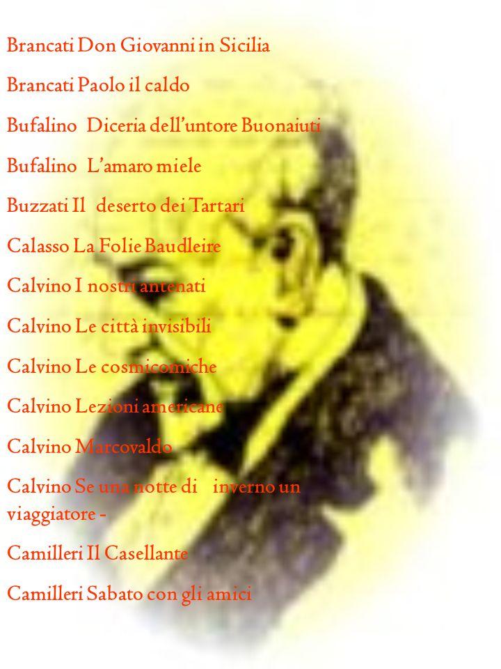 Brancati Don Giovanni in Sicilia Brancati Paolo il caldo Bufalino Diceria delluntore Buonaiuti Bufalino Lamaro miele Buzzati Il deserto dei Tartari Ca
