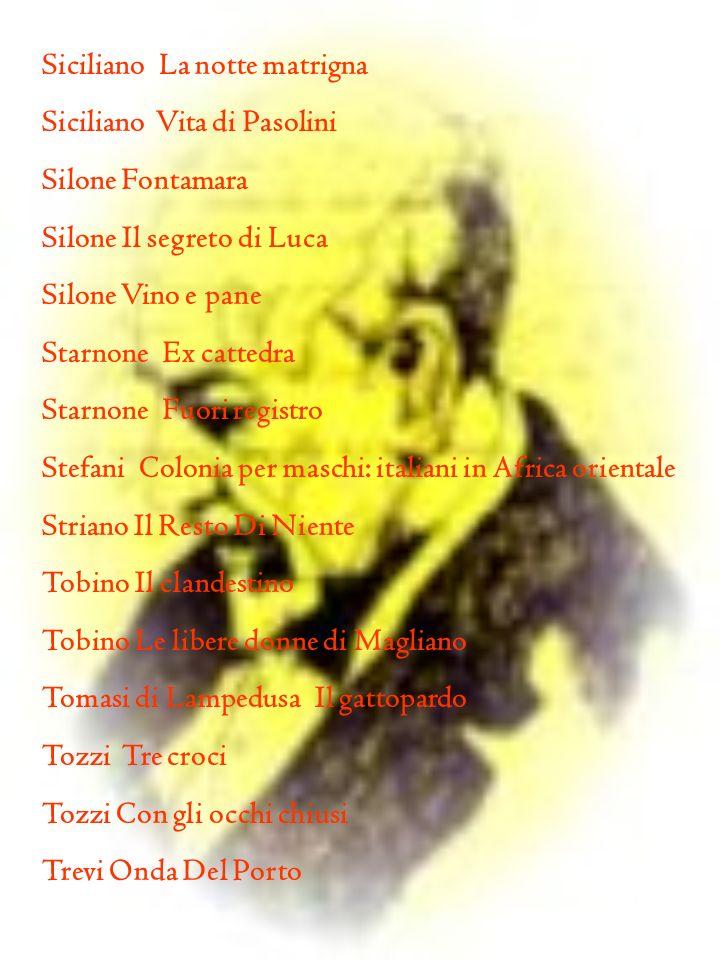 Siciliano La notte matrigna Siciliano Vita di Pasolini Silone Fontamara Silone Il segreto di Luca Silone Vino e pane Starnone Ex cattedra Starnone Fuo