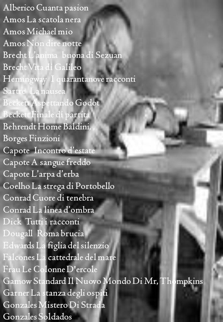 Alberico Cuanta pasion Amos La scatola nera Amos Michael mio Amos Non dire notte Brecht Lanima buona di Sezuan Brecht Vita di Galileo Hemingway I quarantanove racconti Sartre La nausea Beckett Aspettando Godot Beckett Finale di partita Behrendt Home Baldini,, Borges Finzioni Capote Incontro destate Capote A sangue freddo Capote Larpa derba Coelho La strega di Portobello Conrad Cuore di tenebra Conrad La linea dombra Dick Tutti i racconti Dougall Roma brucia Edwards La figlia del silenzio Falcones La cattedrale del mare Frau Le Colonne D ercole Gamow Standard Il Nuovo Mondo Di Mr, Thompkins Garner La stanza degli ospiti Gonzales Mistero Di Strada Gonzales Soldados