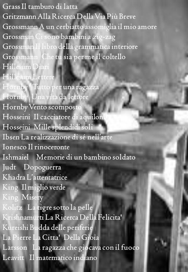 Grass Il tamburo di latta Gritzmann Alla Ricerca Della Via Più Breve Grossmann A un cerbiatto assomiglia il mio amore Grossman Ci sono bambini a zig-zag Grossman Il libro della grammatica interiore Grossmann Che tu sia per me il coltello Hillesum Diari Hillesum Lettere Hornby Tutto per una ragazza Hornby Una vita da lettore Hornby Vento scomposto Hosseini Il cacciatore di aquiloni Hosseini Mille splendidi soli Ibsen La realizzazione di sé nellarte Ionesco Il rinoceronte Ishmaiel Memorie di un bambino soldato Judt Dopoguerra Khadra Lattentatrice King Il miglio verde King Misery Kolitz La tigre sotto la pelle Krishnamurti La Ricerca Della Felicita Kureishi Budda delle periferie La Pierre La Citta Della Gioia Larsson La ragazza che giocava con il fuoco Leavitt Il matematico indiano
