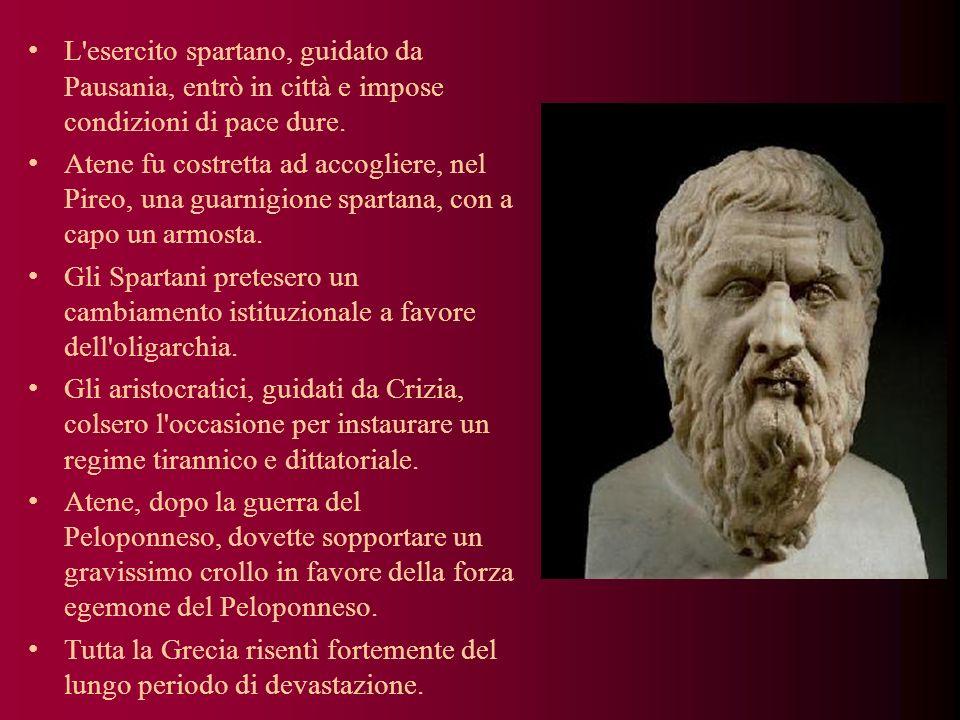 L'esercito spartano, guidato da Pausania, entrò in città e impose condizioni di pace dure. Atene fu costretta ad accogliere, nel Pireo, una guarnigion