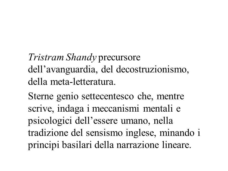 Tristram Shandy precursore dellavanguardia, del decostruzionismo, della meta-letteratura. Sterne genio settecentesco che, mentre scrive, indaga i mecc
