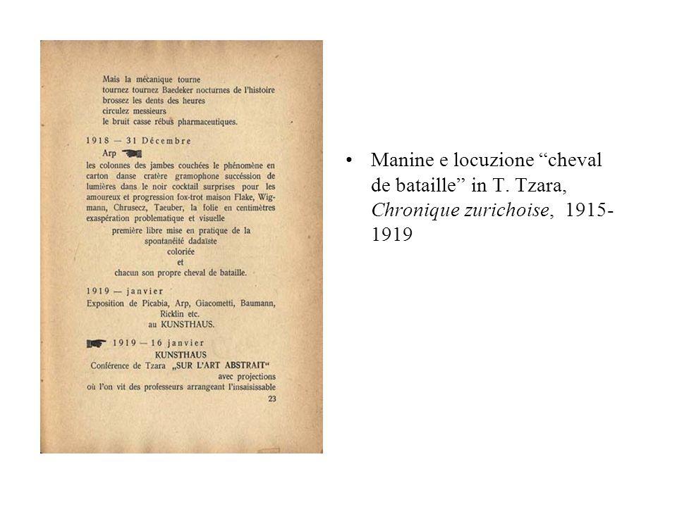 Manine e locuzione cheval de bataille in T. Tzara, Chronique zurichoise, 1915- 1919