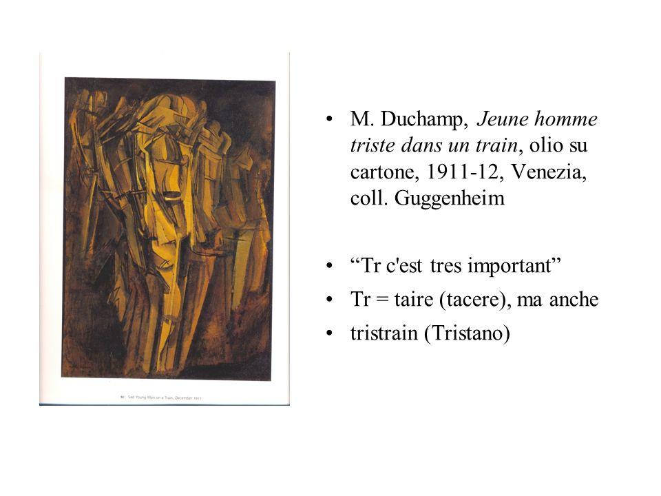 M. Duchamp, Jeune homme triste dans un train, olio su cartone, 1911-12, Venezia, coll. Guggenheim Tr c'est tres important Tr = taire (tacere), ma anch