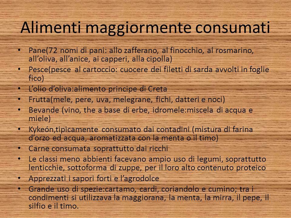 Alimenti maggiormente consumati Pane(72 nomi di pani: allo zafferano, al finocchio, al rosmarino, alloliva, allanice, ai capperi, alla cipolla) Pesce(