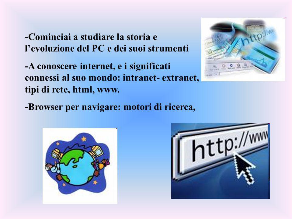 -Cominciai a studiare la storia e levoluzione del PC e dei suoi strumenti -A conoscere internet, e i significati connessi al suo mondo: intranet- extr