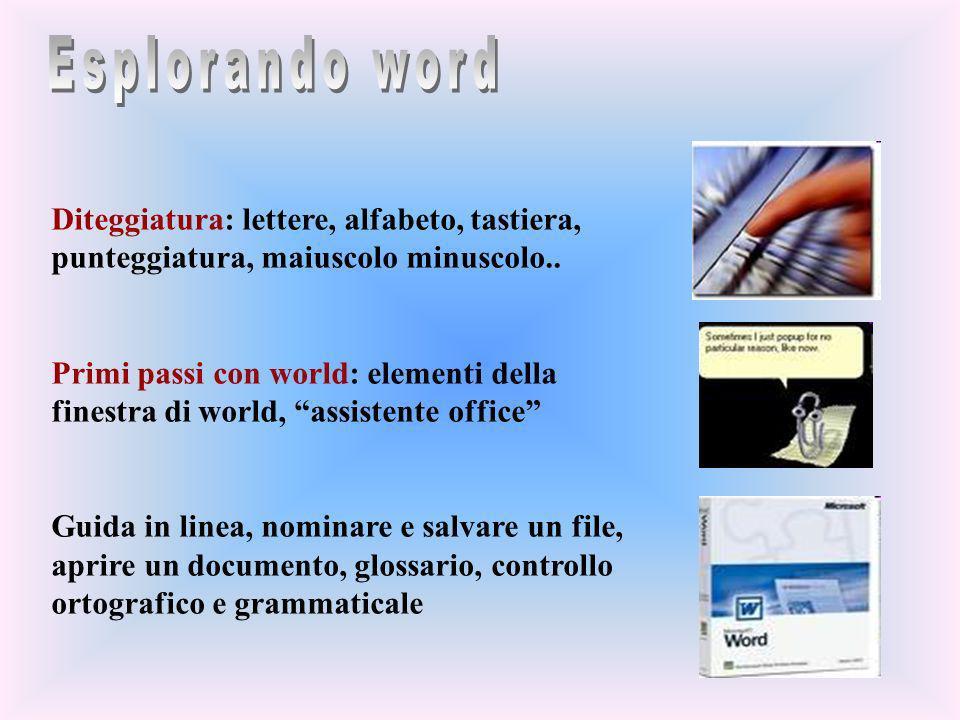 Diteggiatura: lettere, alfabeto, tastiera, punteggiatura, maiuscolo minuscolo.. Primi passi con world: elementi della finestra di world, assistente of