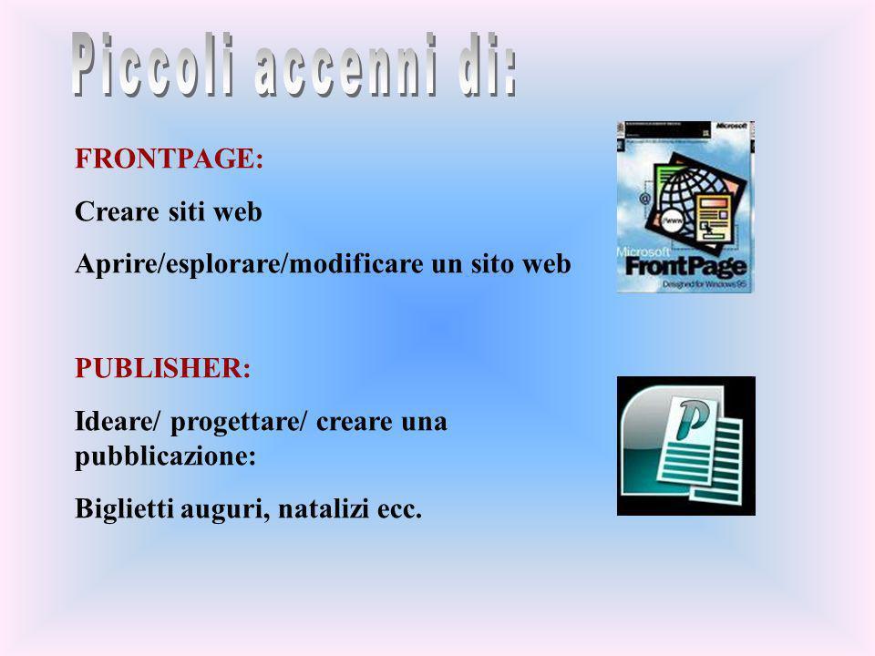 FRONTPAGE: Creare siti web Aprire/esplorare/modificare un sito web PUBLISHER: Ideare/ progettare/ creare una pubblicazione: Biglietti auguri, natalizi
