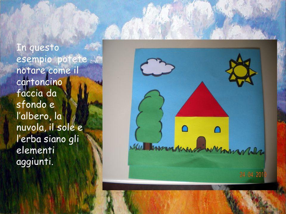 In questo esempio potete notare come il cartoncino faccia da sfondo e lalbero, la nuvola, il sole e lerba siano gli elementi aggiunti.
