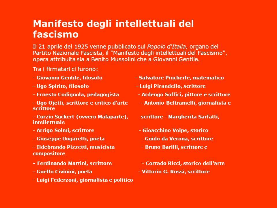 Manifesto degli intellettuali del fascismo Il 21 aprile del 1925 venne pubblicato sul Popolo d'Italia, organo del Partito Nazionale Fascista, il