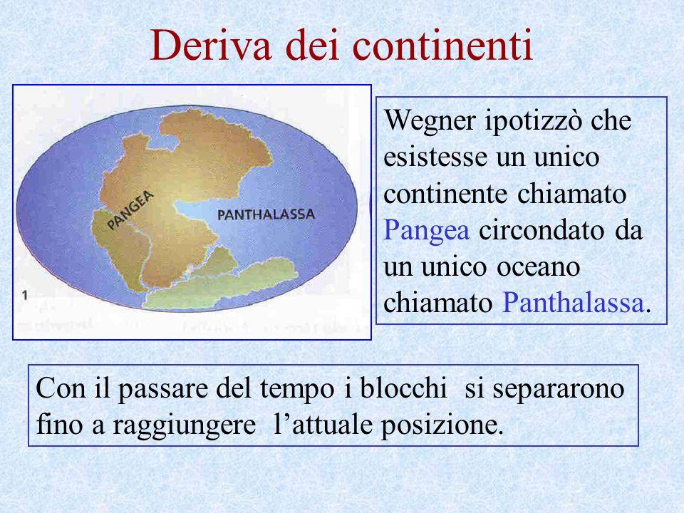 Deriva dei continenti Wegner ipotizzò che esistesse un unico continente chiamato Pangea circondato da un unico oceano chiamato Panthalassa.