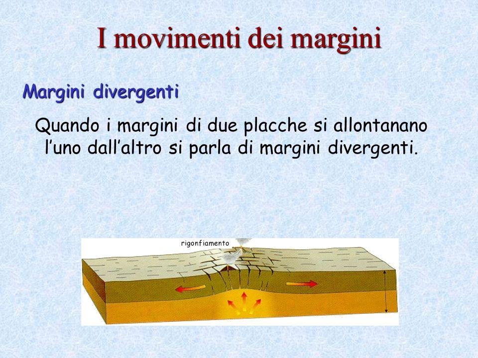 I movimenti dei margini Margini divergenti Quando i margini di due placche si allontanano luno dallaltro si parla di margini divergenti.